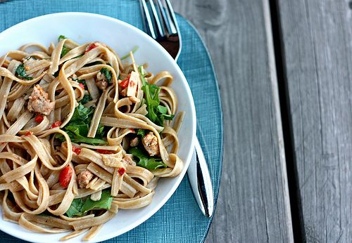Pasta with Sausage, Red Peppers, and baby Arugula****