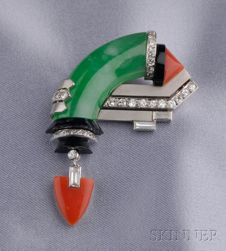 Art Deco Jadeite, Coral, Onyx, and Diamond Pin | Sale Number 2487, Lot Number 694 | Skinner Auctioneers