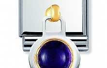 Nomination Stainless Steel and 18ct Gold 2K Hanging Amethyst Charm