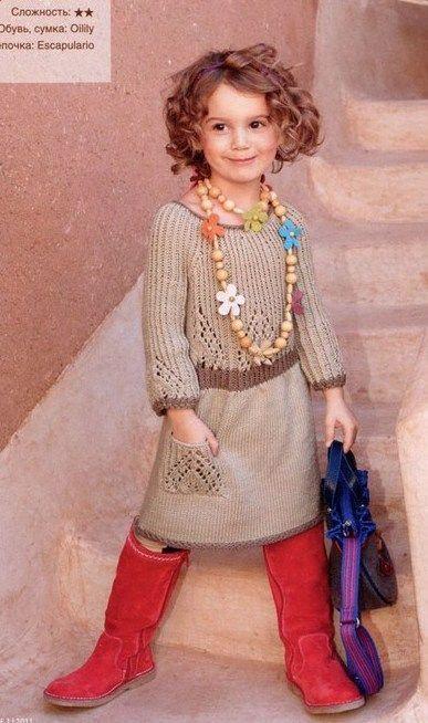 Платье для девочки 8 лет спицами. Стильное платье для девочки спицами | Я Хозяйка