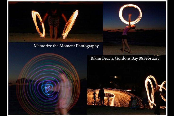 Fire dancers, gordons bay, bikini beach, long exposure, fire patterns, firefly,