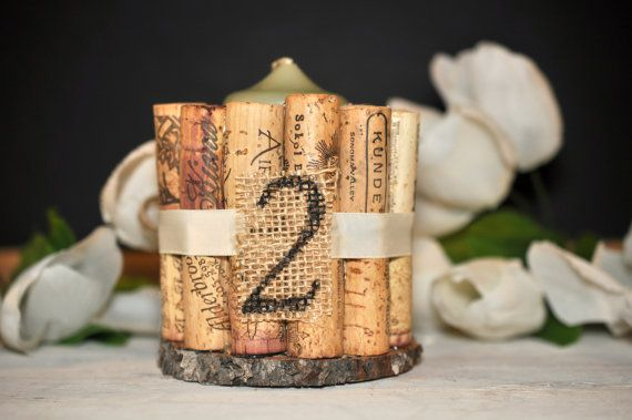 rustic wedding table numbers wine cork table by ReclaimedOregon