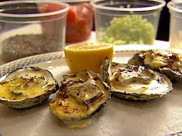 Get Broiled Oysters with Celery Cream and Virginia Ham Recipe from Food Network