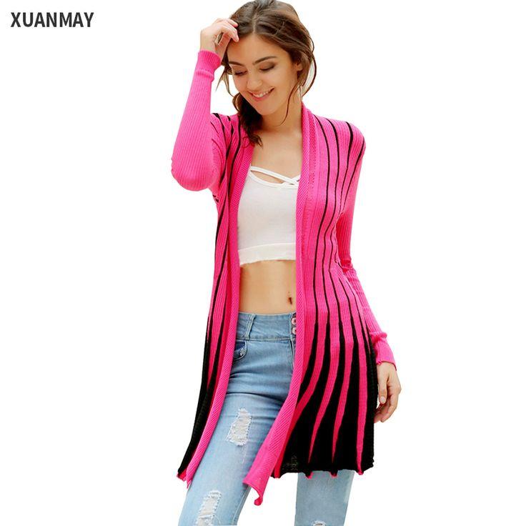 Для отдыха тонкий цвет полосатый вязаный кардиган шаль женские длинные свитер пальто новинка 2016 женские эластичные большой ярдов свитера женские куртка купить на AliExpress