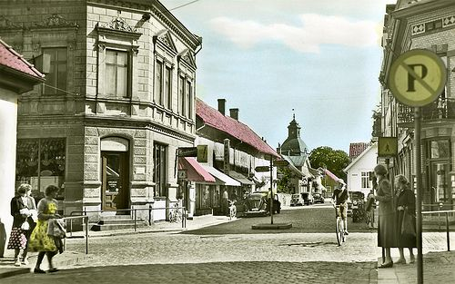 Storgatan (Main Street) in Falkenberg, Halland, Sweden - 1945-1959 Original postcard, tinted