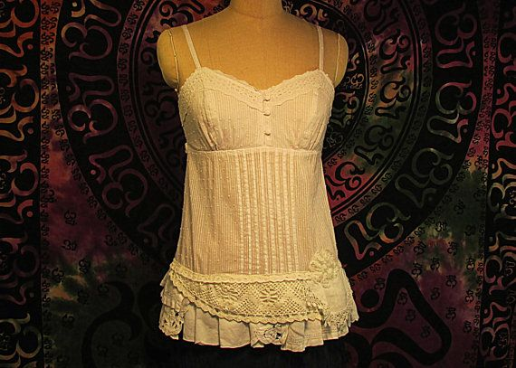 Camisole Top Boho Gypsy Hippie Upcycled Upscaled by RevampReuse