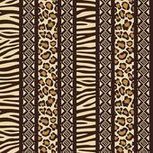 Estilo africano sem costura com padrões de pele de animal selvagem — Vetor de Stock
