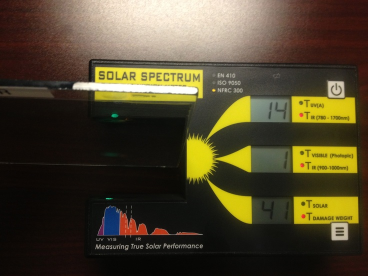The Solar Spectrum Meter is able to measure UV Transmission, Solar Transmission, Damaged Weight Value, and IR Transmission all the way up too 1700nm.