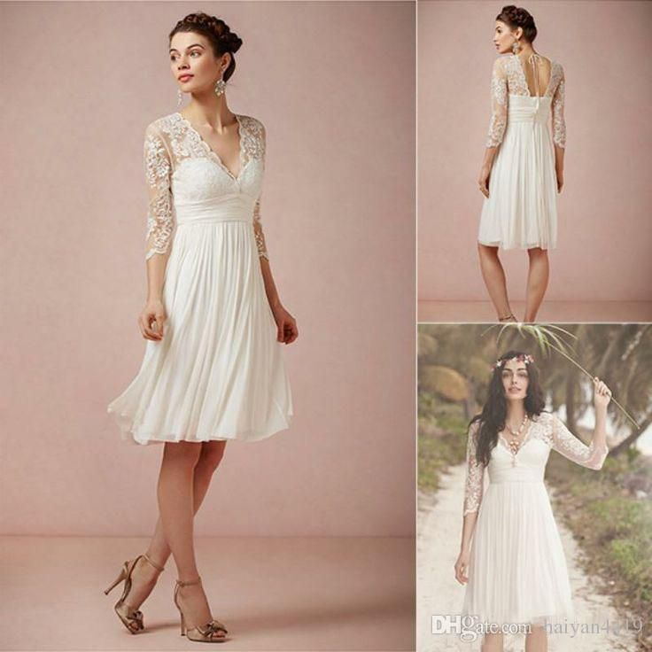2016 Cheap Bohemian Wedding Dresses A Line V Neck 3 4 Sleeves Lace Appliques