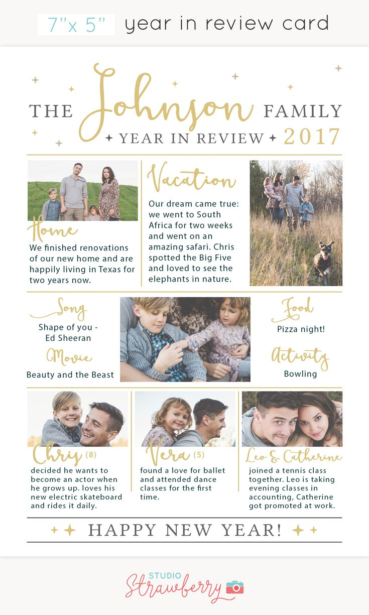 Year in review Christmas card template / Holidays / Happy New Year / Family Facts / Year in Review Card Template