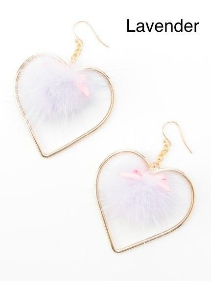 This is an authentic Swankiss item made available on TOM with the permission of the original manufacturer. Swankiss is a much loved Japanese fashion brand known for its cute and feminine designs and these Pom Pom Heart earrings are some of their most adorable offerings yet. Available in white, pink or lavender each of the heart shaped metal earrings has a soft and fluffy pom pom with a ribbon on t... #jfashion #kawaii