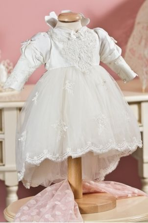 """""""The Snow Queen"""" - precious christening dress, with pretty lace ornaments, from Petite Coco.  http://www.petitecoco.ro/shop/en/tres-chic/47-the-snow-queen-dress.html"""