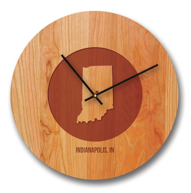 """15"""" Indiana City and State Cherry Wall Clock"""