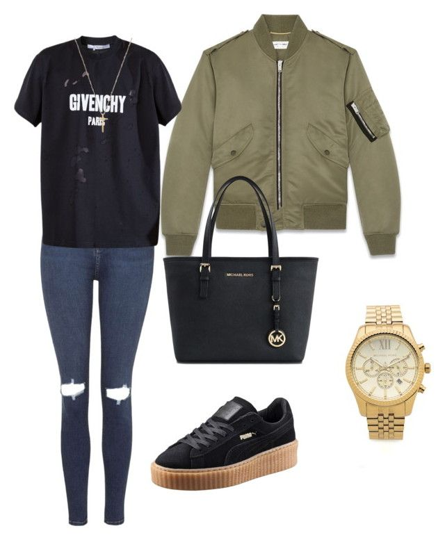 """wearing to the weeknd concert"" by erinkeeney on Polyvore featuring Topshop, Yves Saint Laurent, Givenchy, Puma, Gucci and Michael Kors"