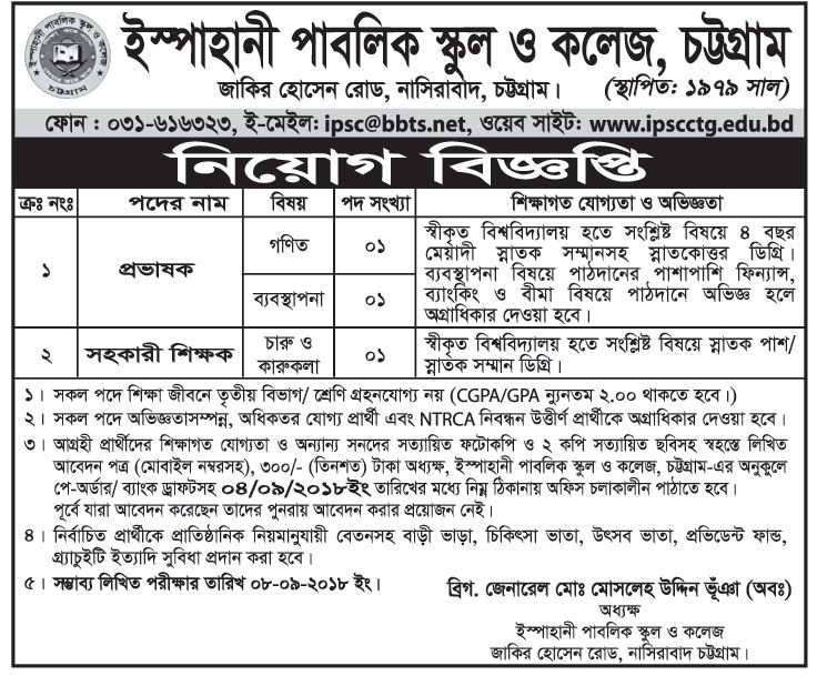 Ispahani Public School and College, Chittagong Lecturer Job Circular