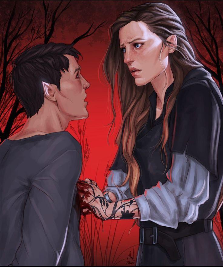 Feyre stabbing the faerie in ACOTAR