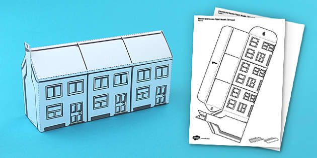 Houses and Homes Terraced Houses Paper Model