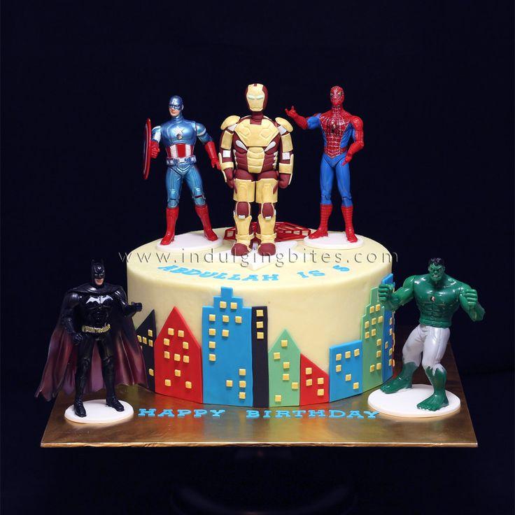 Superheroes Figurines Butter Cream Cake