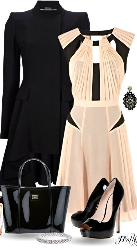 love this dress, the black and cream. And the high neck with interesting cut out at the top