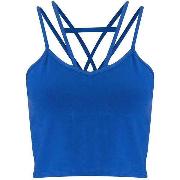 Miss Selfridge Petites Blue Strap Crop Top ($21) ❤ liked on Polyvore featuring tops, cobalt blue, petite, cropped tops, miss selfridge, cobalt blue top, spaghetti-strap top and blue top