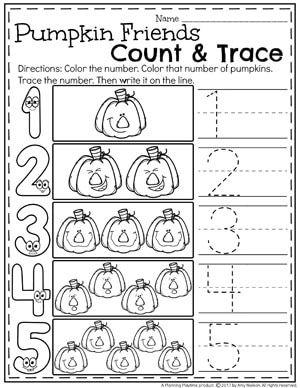 Preschool Pumpkin Worksheets for October
