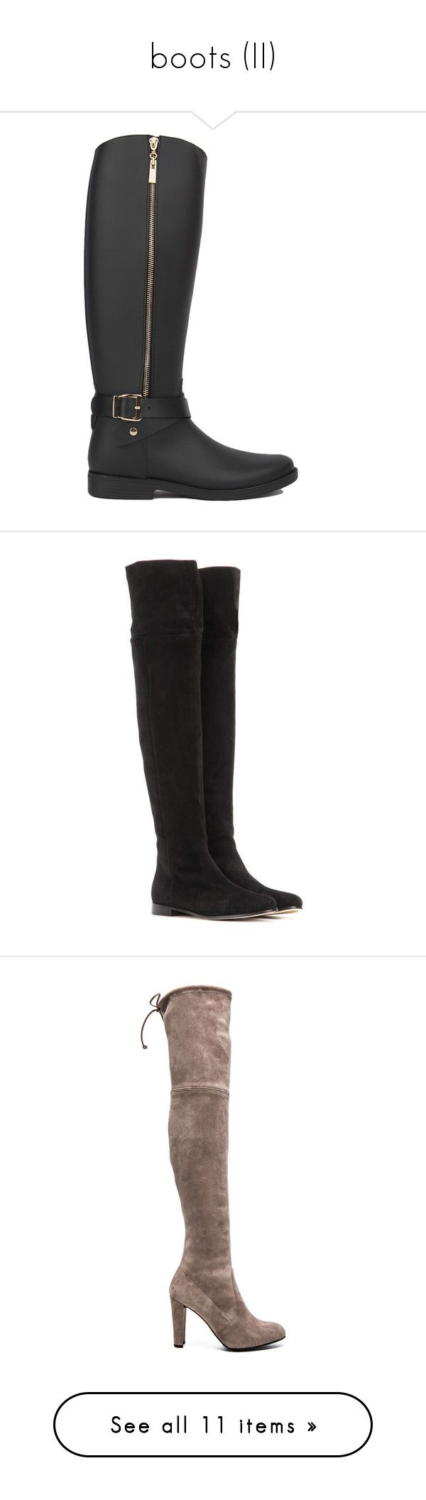 """boots (II)"" by aiyanaa ❤ liked on Polyvore featuring shoes, boots, black, knee-high boots, wellington boots, rain boots, rubber boots, black knee high boots, tall knee high boots and black over-the-knee boots"
