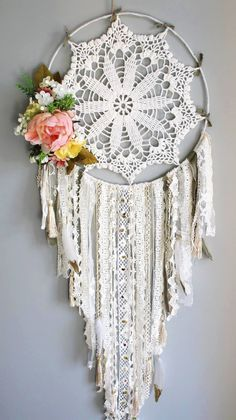 flower dream catcher, boho dream catcher, personalized dream catcher with the name, cotton dream catcher, lace drream catcher,dream catcher by Babudreamcatcher on Etsy