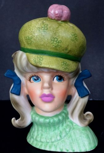 Vintage-1960-039-s-Mod-Teen-Head-vase-Green-beret-amp-turtleneck-pigtails
