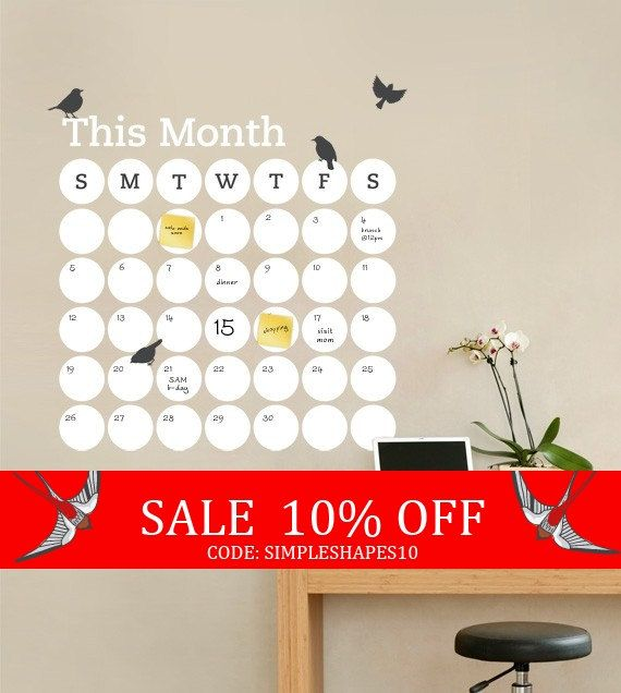 Sale  Daily Dot Dry Erase Wall Calendar  Vinyl by SimpleShapes