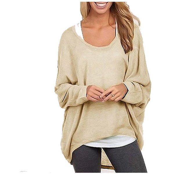 Women's Oversized Baggy Shirt Long Sleeve Off-Shoulder Tops Sweater ($7.99) ❤ liked on Polyvore featuring tops, sweaters, khaki, off the shoulder tops, off the shoulder sweater, oversized long sleeve shirt, off the shoulder long sleeve shirt and khaki long sleeve shirt
