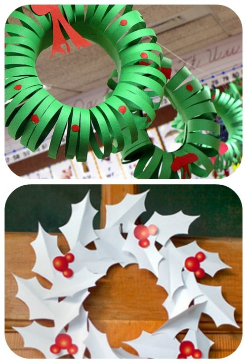 Make a Construction Paper Wreath~ Great to get the little ones ready to help with this adorable Christmas paper decoration project.)  Another Printable Paper Holly Wreath ~ Brighten up your home this Christmas with this beautiful wreath that you can customize too look just the way you like. Build it for yourself or someone special this holiday season!