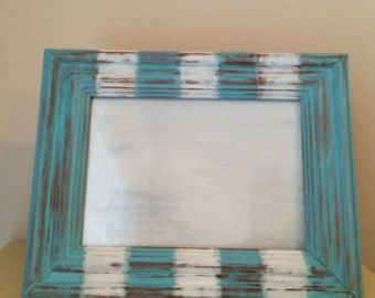 shabby chic distressed blue and white nautical picture frame - Nautical Picture Frames