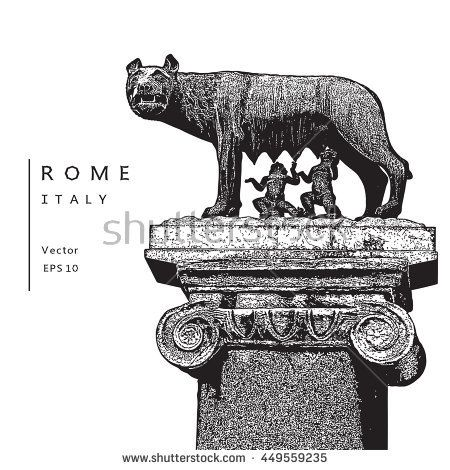 Capitoline Wolf with Romulus and Remus - symbol of Rome, Italy.   Vector illustration. EPS 10. Image reworked after Auto-Trace for easy editing.