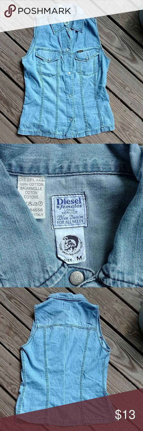 Diesel shirt Diesel denim sleeveless shirt.  Size medium, snap front Diesel Tops Button Down Shirts