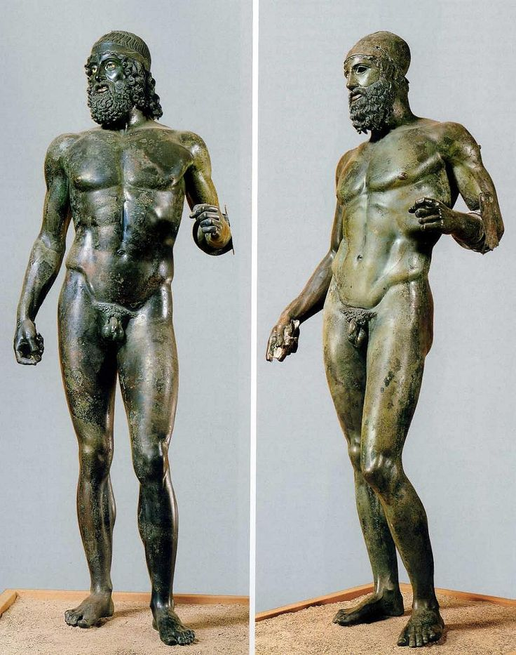 Riace Bronze warriors, found while diving at a distance of 200 metres from the Riace's coast and at a depth of 6–8 metres. The sculptures are lifesize and represent a young warrior (right) and an older/veteren warrior. The hands suggest that they originally held a shield and spear.
