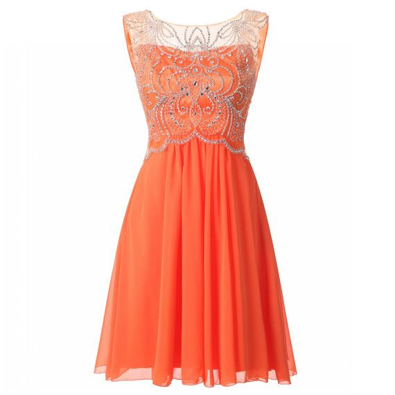 Charming Sheer Neck Chiffon Orange Homecoming Dresses,Luxury Short Strapless Crystal Beaded Prom Dresses