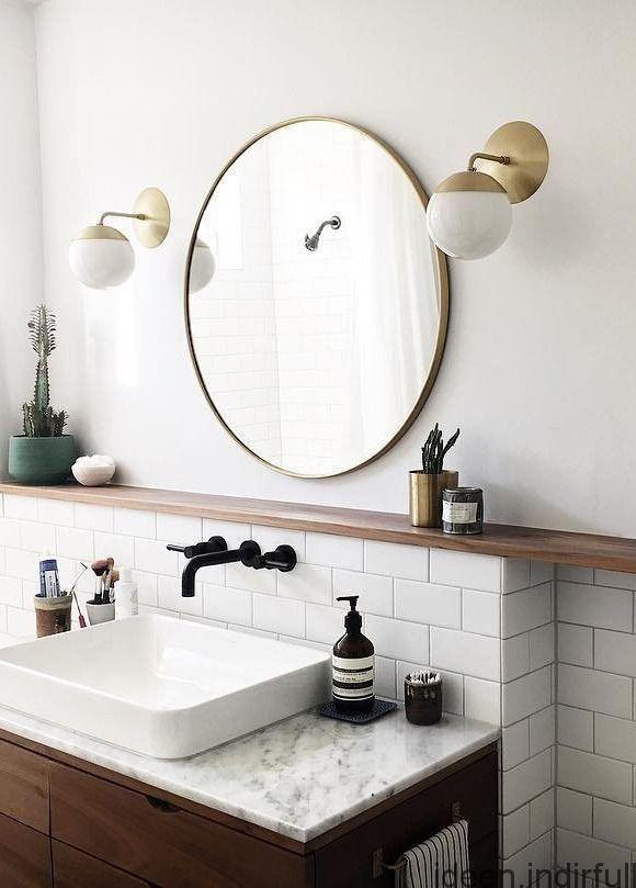 Modernes Dekor Badezimmer Tablet An Der Wand An Die Wand Gelehnt Badezimmerspiegel Runde Badezimmerspiegel Bad Inspiration