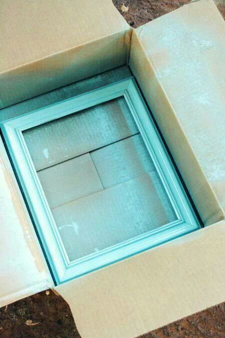 Great way to spray paint picture frames.