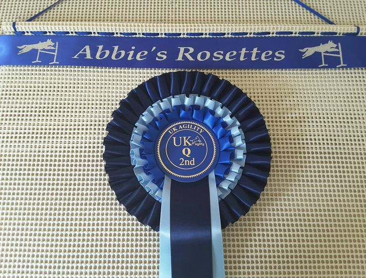 """Ideas For Displaying Your Dog Show Rosettes . Our New Design Just Launched """"Jumping Dog """"  visit our website to order www.displayyourrosettes.com"""