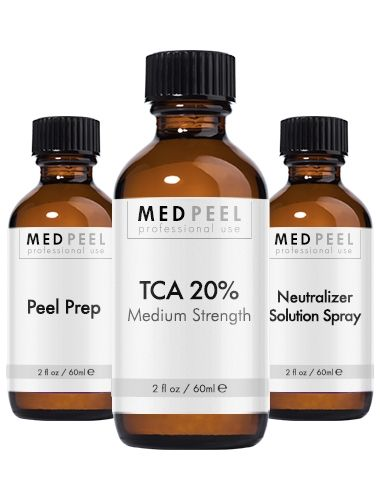 TCA Peel 20% - Trichloroacetic Acid Peel Kit. Kit last 12-15 applications and includes peel prep, TCA 20% Medium strength peel, neutralizer and daily collagen complex.