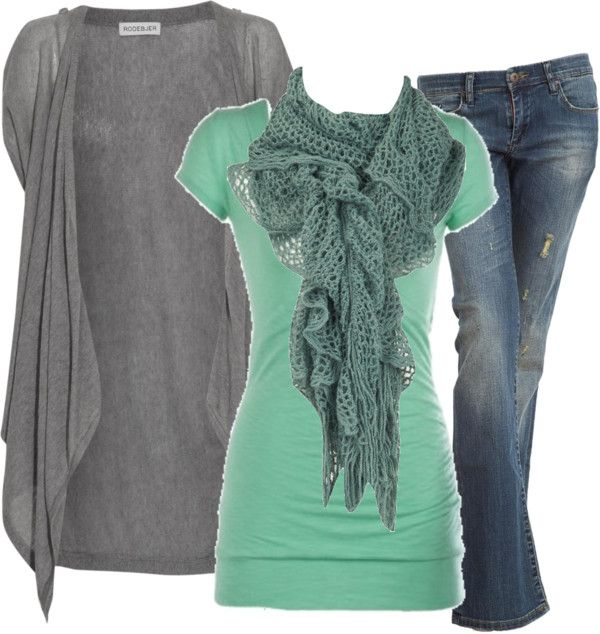 Grey shrug, Grey Scarf, Jeans, and a pop of color for interest!
