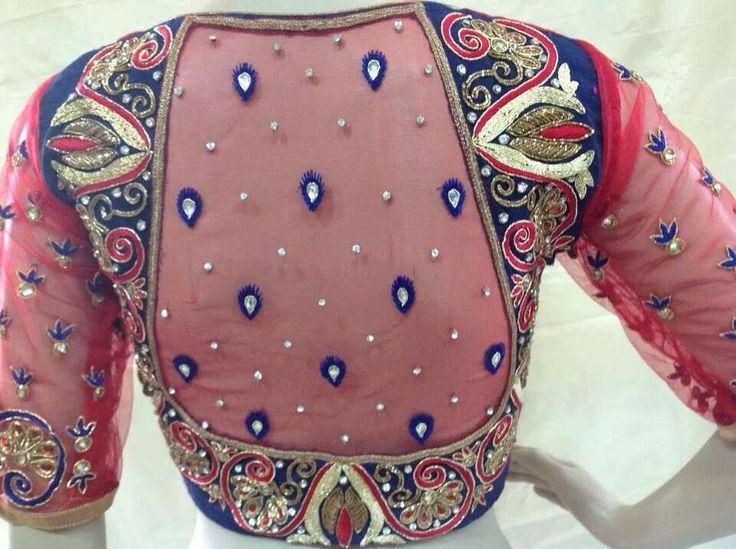 high neck netted blouse design