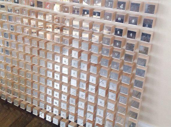 Modern word Geometric mirror wood cube wall art by HayatGul