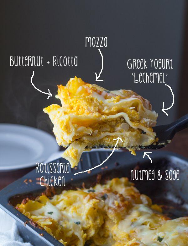 Cheesy Chicken, Butternut and Sage Lasagna- you'll never guess this is lightened up with a Greek yogurt 'bechemel' sauce and butternut squash #lasagna #pumpkin