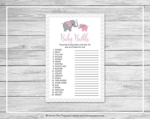 Elephant Baby Shower Baby Babble Game by SweetPeaPaperieShop