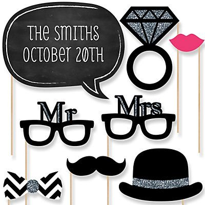 Wedding - 20 Piece Photo Booth Props Kit | BigDotOfHappiness.com