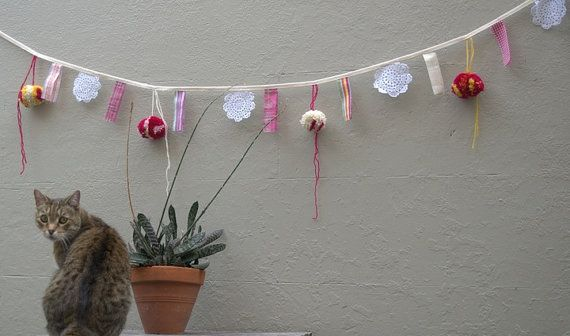 Fabric Bunting Flag Banner PomPom Wedding Party by MeandTex