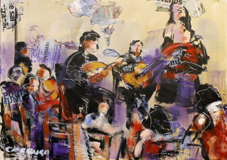 """Fadista"" / ""Fado singer"" Técnica mista sobre tela / Mixed media on canvas 50 x 70 cm 2015"