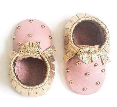 Baby Moccasins, Toddler Moccasins - Pink & Gold Studded Baby Moccasins, Toddler…