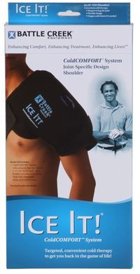 Battle Creek Ice It! ColdCOMFORT Shoulder is a Must for any shoulder injury.  This shoulder ice pack system is designed to wrap around the entire shoulder, allowing 2 large ice packs to consume the front and the back of the shoulder, providing...